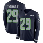 Wholesale Cheap Nike Seahawks #29 Earl Thomas III Steel Blue Team Color Men's Stitched NFL Limited Therma Long Sleeve Jersey