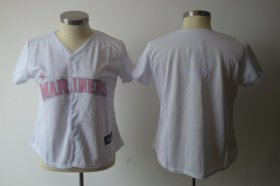 Wholesale Cheap Mariners Blank White With Pink No. Women\'s Fashion Stitched MLB Jersey
