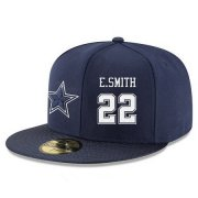 Wholesale Cheap Dallas Cowboys #22 Emmitt Smith Snapback Cap NFL Player Navy Blue with White Number Stitched Hat