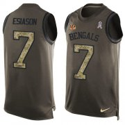 Wholesale Cheap Nike Bengals #7 Boomer Esiason Green Men's Stitched NFL Limited Salute To Service Tank Top Jersey