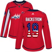 Wholesale Cheap Adidas Capitals #19 Nicklas Backstrom Red Home Authentic USA Flag Women's Stitched NHL Jersey
