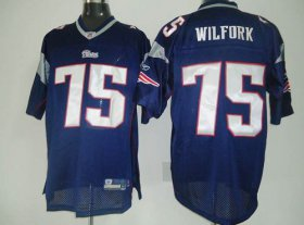 Wholesale Cheap Patriots #75 Vince Wilfork Dark Blue Stitched NFL Jersey