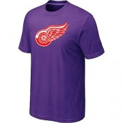 Wholesale Cheap Detroit Red Wings Big & Tall Logo Purple NHL T-Shirt