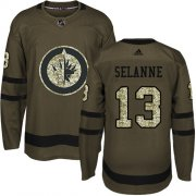 Wholesale Cheap Adidas Jets #13 Teemu Selanne Green Salute to Service Stitched Youth NHL Jersey