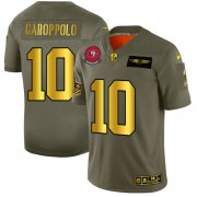 Wholesale Cheap San Francisco 49ers #10 Jimmy Garoppolo NFL Men's Nike Olive Gold 2019 Salute to Service Limited Jersey