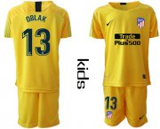 Wholesale Cheap Atletico Madrid #13 Oblak Yellow Goalkeeper Kid Soccer Club Jersey