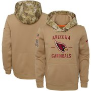 Wholesale Cheap Youth Arizona Cardinals Nike Khaki 2019 Salute to Service Therma Pullover Hoodie