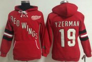 Wholesale Cheap Detroit Red Wings #19 Steve Yzerman Red Women's Old Time Heidi NHL Hoodie