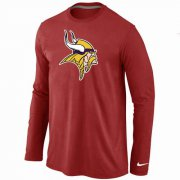 Wholesale Cheap Nike Minnesota Vikings Logo Long Sleeve T-Shirt Red
