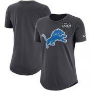 Wholesale Cheap NFL Women's Detroit Lions Nike Anthracite Crucial Catch Tri-Blend Performance T-Shirt