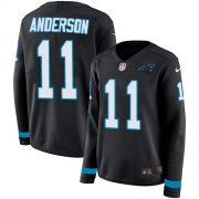 Wholesale Cheap Nike Panthers #11 Robby Anderson Black Team Color Women's Stitched NFL Limited Therma Long Sleeve Jersey