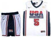 Wholesale Cheap USA Basketball Retro 1992 Olympic Dream Team 5 Kevin Durant White Basketball Suit