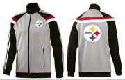Wholesale Cheap NFL Pittsburgh Steelers Team Logo Jacket Grey