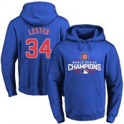 Wholesale Cheap Cubs #34 Jon Lester Blue 2016 World Series Champions Pullover MLB Hoodie