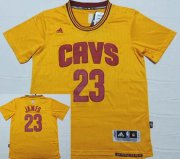 Wholesale Cheap Men's Cleveland Cavaliers #23 LeBron James Revolution 30 Swingman 2014 New Yellow Short-Sleeved Jersey