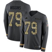 Wholesale Cheap Nike Lions #79 Kenny Wiggins Anthracite Salute to Service Men's Stitched NFL Limited Therma Long Sleeve Jersey