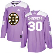 Wholesale Cheap Adidas Bruins #30 Gerry Cheevers Purple Authentic Fights Cancer Stitched NHL Jersey