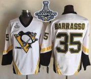 Wholesale Cheap Penguins #35 Tom Barrasso White CCM Throwback 2017 Stanley Cup Finals Champions Stitched NHL Jersey