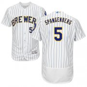 Wholesale Cheap Brewers #5 Cory Spangenberg White Strip Flexbase Authentic Collection Stitched MLB Jersey
