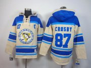 Wholesale Cheap Penguins #87 Sidney Crosby Cream Sawyer Hooded Sweatshirt Stitched NHL Jersey