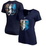 Wholesale Cheap Milwaukee Brewers #22 Christian Yelich Majestic Women's 2019 Spring Training Name & Number V-Neck T-Shirt Navy
