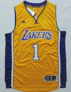 Wholesale Cheap Men's Los Angeles Lakers #1 D'Angelo Russell Revolution 30 Swingman 2015 Draft New Yellow Jersey