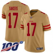 Wholesale Cheap Nike 49ers #17 Emmanuel Sanders Gold Youth Stitched NFL Limited Inverted Legend 100th Season Jersey