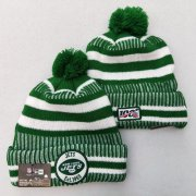 Wholesale Cheap Jets Team Logo Green 100th Season Pom Knit Hat YD