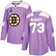 Wholesale Cheap Adidas Bruins #73 Charlie McAvoy Purple Authentic Fights Cancer Stanley Cup Final Bound Stitched NHL Jersey