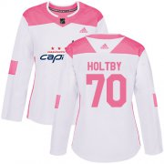 Wholesale Cheap Adidas Capitals #70 Braden Holtby White/Pink Authentic Fashion Women's Stitched NHL Jersey