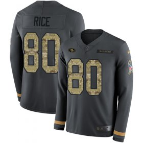 Wholesale Cheap Nike 49ers #80 Jerry Rice Anthracite Salute to Service Youth Stitched NFL Limited Therma Long Sleeve Jersey