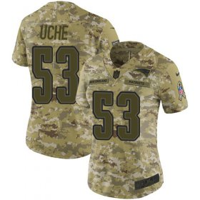 Wholesale Cheap Nike Patriots #53 Josh Uche Camo Women\'s Stitched NFL Limited 2018 Salute To Service Jersey