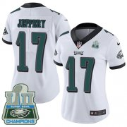 Wholesale Cheap Nike Eagles #17 Alshon Jeffery White Super Bowl LII Champions Women's Stitched NFL Vapor Untouchable Limited Jersey