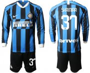 Wholesale Cheap Inter Milan #37 Skriniar Home Long Sleeves Soccer Club Jersey