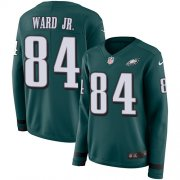 Wholesale Cheap Nike Eagles #84 Greg Ward Jr. Green Team Color Women's Stitched NFL Limited Therma Long Sleeve Jersey