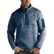 Wholesale Cheap Men's New England Patriots Heather Navy Antigua Fortune Quarter-Zip Pullover Jacket