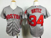 Wholesale Cheap Red Sox #34 David Ortiz Grey Cool Base Stitched Youth MLB Jersey