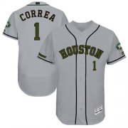 Wholesale Cheap Astros #1 Carlos Correa Grey Flexbase Authentic Collection Memorial Day Stitched MLB Jersey