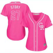 Wholesale Cheap Rockies #27 Trevor Story Pink Fashion Women's Stitched MLB Jersey