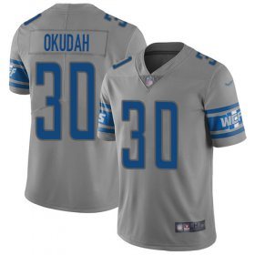 Wholesale Cheap Nike Lions #30 Jeff Okudah Gray Youth Stitched NFL Limited Inverted Legend Jersey