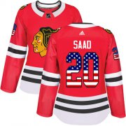 Wholesale Cheap Adidas Blackhawks #20 Brandon Saad Red Home Authentic USA Flag Women's Stitched NHL Jersey