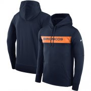 Wholesale Cheap Men's Denver Broncos Nike Navy Sideline Team Performance Pullover Hoodie