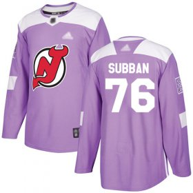 Wholesale Cheap Adidas Devils #76 P.K. Subban Purple Authentic Fights Cancer Stitched NHL Jersey
