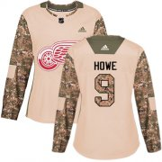 Wholesale Cheap Adidas Red Wings #9 Gordie Howe Camo Authentic 2017 Veterans Day Women's Stitched NHL Jersey