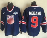 Wholesale Cheap Team USA #9 Mike Modano Navy Blue 2014 Olympic Nike Throwback Stitched NHL Jersey