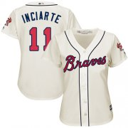 Wholesale Cheap Braves #11 Ender Inciarte Cream Alternate Women's Stitched MLB Jersey