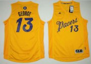 Wholesale Cheap Men's Indiana Pacers #13 Paul George adidas Yellow 2016 Christmas Day Stitched NBA Swingman Jersey
