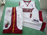 Wholesale Cheap Miami Heat 1 Bosh white swingman Basketball Suit