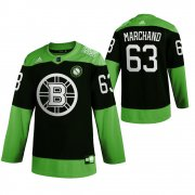 Wholesale Cheap Boston Bruins #63 Brad Marchand Men's Adidas Green Hockey Fight nCoV Limited NHL Jersey