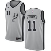 Wholesale Cheap Men's Nike San Antonio Spurs #11 Bryn Forbes Silver Basketball Swingman Statement Edition Jersey
